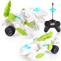iBacakys Transforming Dinosaur Toys Transformers Toys, 2.4G RC Transforming Dinosaur LED Car with Remote Control , Led Light and Music, Dinosaur Cars for 3 4 5 6 7 8 12+ Years Old Boys Kids (White)