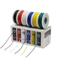 CBAZY Hook up Wire Kit (Stranded Wire Kit) 18 Gauge 6 colors 16.4 feet Each Electrical Wire 18 AWG