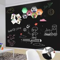 "ZHIDIAN Magnetic Chalkboard Contact Paper for Wall, 72"" x 48"" Non-Adhesive Back Chalkboard Wallpaper, Blackboard Wall Sticker with Chalks for Home/School/Playroom, 0.8mm/30 mils Thickness"