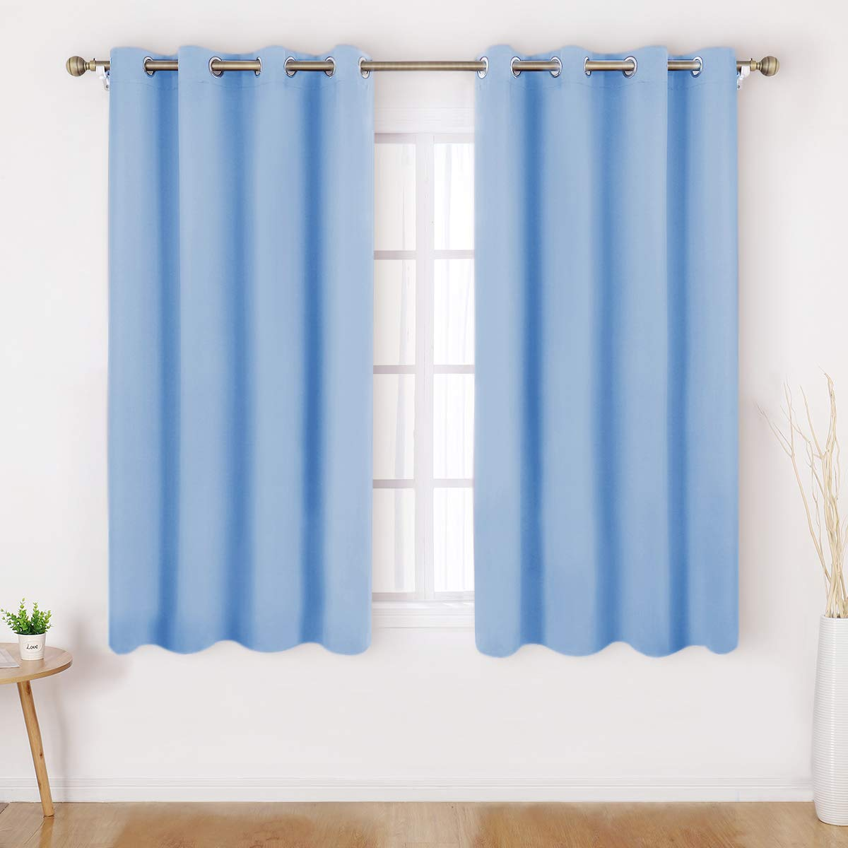 HOMEIDEAS Blackout Curtains 52 X 45 Inch Length Set of 2 Panels Baby Blue Room Darkening Bedroom Curtains/Drapes, Thermal Grommet Light Bolcking Window Curtains for Living Room