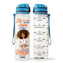 64HYDRO 32oz 1Liter Motivational Water Bottle with Time Marker, She was Born with The Ability to Change Someone's Life So She Became A Nurse Inspiration Afro Black Women MDW1108001 Water Bottle