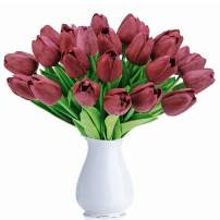 BOMAROLAN Artificial Tulip Fake Holland Mini Tulip Real Touch Flowers 24 Pcs for Wedding Decor DIY Home Party (Rose Red)