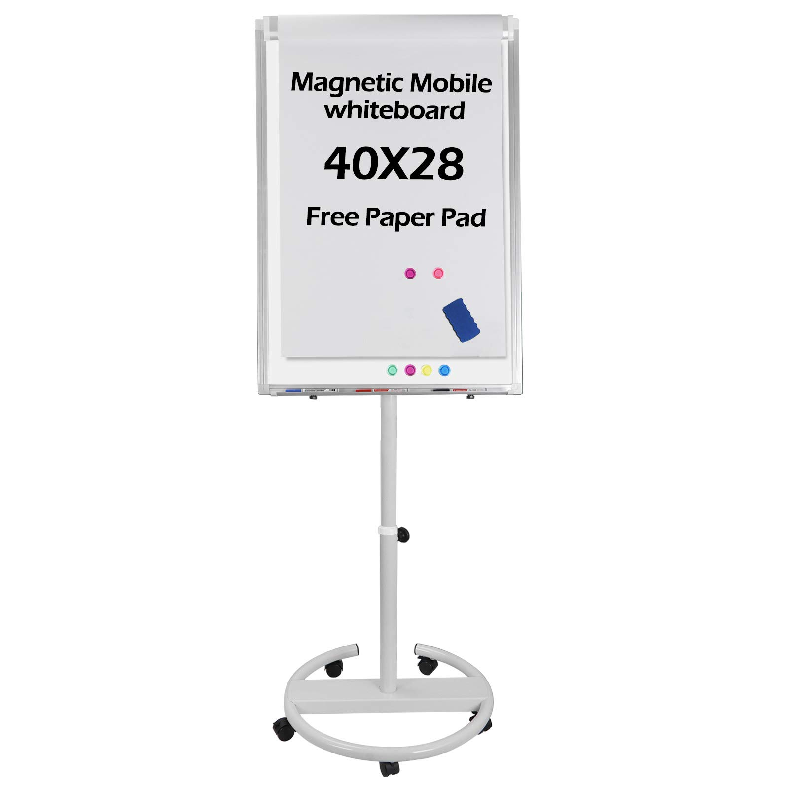 F2C 40 x 28 inch Mobile Magnetic Whiteboard Portable Dry Erase Board Height Adjustable Easel Board with Rolling Stand, w/Eraser, 3 Markers, Flipchart Paper Pad, 6 Magnets