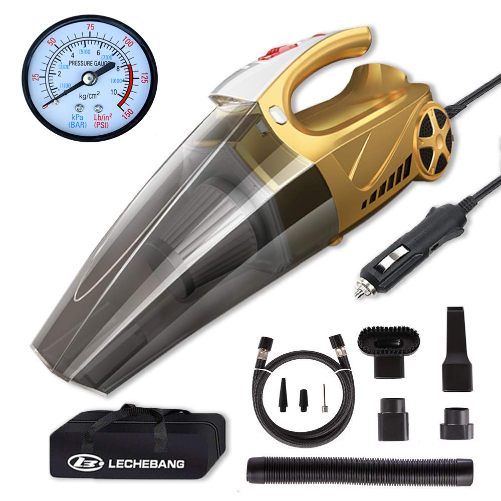 LB LECHEBANG 4 in 1 Air Pump Car Cleaner Hand Held Wet Dry DC 12V High Power Vacuum with Digital Tire Inflator and LED for Lighting-HEPA Filter … (Gold) (Pointer Meter)