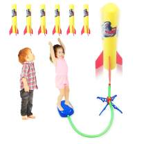Duckura Jump Rocket Launchers for Kids, Outdoor Air Rocket Toys with Launcher and 6 Foam Rockets, Summer Toys Gift for Boys Girls Toddlers Ages 3 4 5 6 and Up