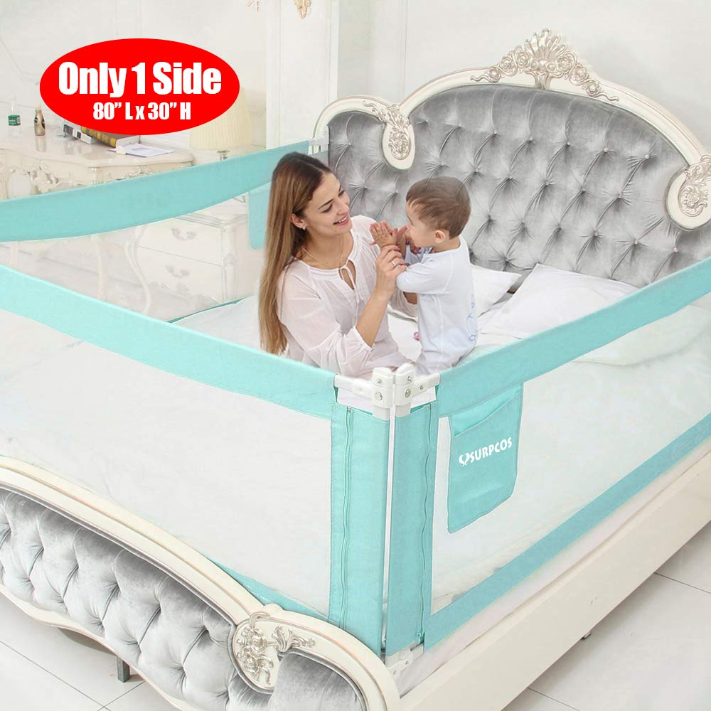 """SURPCOS Bed Rails for Toddlers - 60"""" 70"""" 80"""" Extra Long Baby Bed Rail Guard for Kids Twin, Double, Full Size Queen & King Mattress (Green) (1Side: 80''(L) X30''(H)) …"""