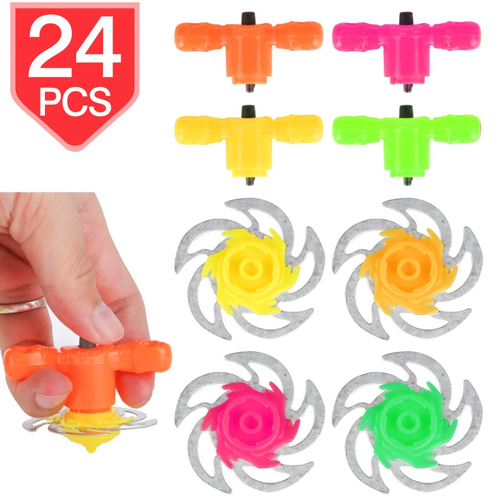 PROLOSO Spinning Tops Set Gyro Gyroscope Launchers Bulk Spinning Toys Party Favors 24 Pcs
