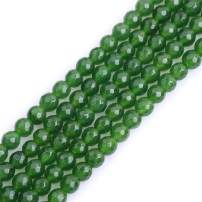 """GEM-Inside Natural 6mm Green Faceted Taiwan Jade Gemstone Loose Beads Round Spacer Beads for DIY Jewelry Making 15"""""""