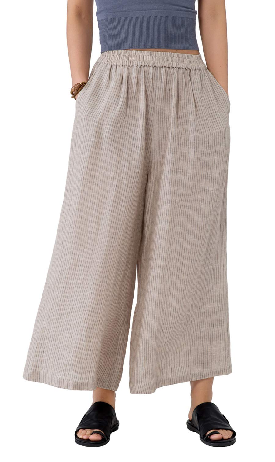 Les umes Ladies Womens Casual Loose Linen Elastic Waist Relaxed Trousers Cropped Wide Leg Culottes Pants US 6-20