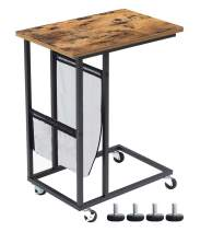 VARMHUS Sofa SideTable,Mobile C Shaped End Table Snack Table with Wheels&Side Pocket,Industrial End Table for Coffee Laptop, Rolling Side Tables for Living Room Bedroom