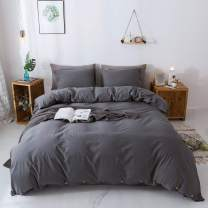 """Miffrovn Grey Washed Cotton Duvet Cover Twin (66""""x90"""") 2 Pieces (1 Pillowcase, 1 Duvet Cover), Solid Luxury Soft Bedding Set with Buttons Closure Corner Ties for Men Women (No Comforter)"""