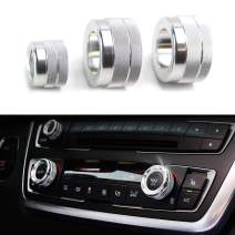 iJDMTOY 3pc Silver Anodized Aluminum AC Climate Control Radio Volume Knob Ring Cover Compatible With 11-16 BMW F10 F11 F07 5 Series 5GT, 11-17 F12 F13 F06 6 Series, Gran Coupe, 08-15 F01 F02 7 Series
