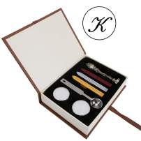 Letter K Wax Seal Stamp Set, Yoption Vintage Alphabet Initial Removable Sealing Stamp Kit with Seal Wax Sticks Gift Box