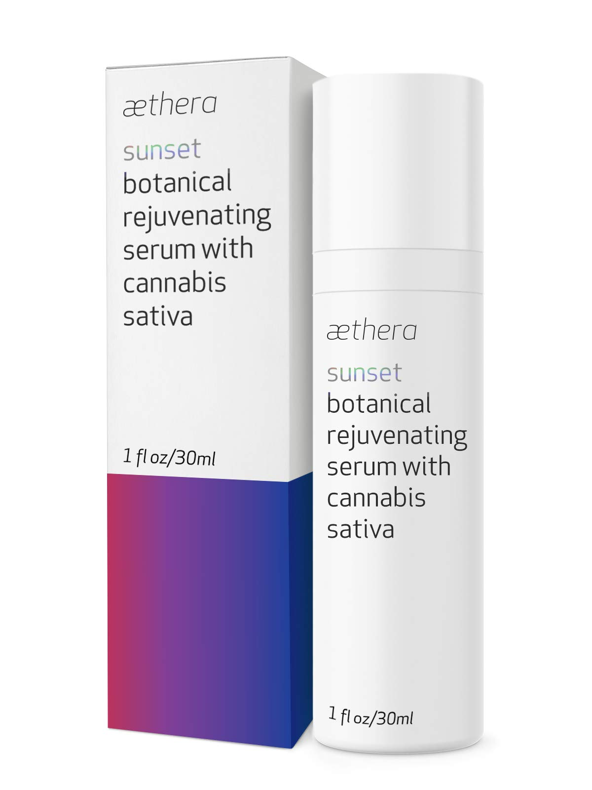 Aethera Beauty Sunset Botanical Rejuvenating Serum with Cannabis Sativa Seed Oil - A soothing night serum to diminish effects of daily stressors on skin while you sleep