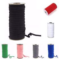 """Multicolors 100 Yards Flat Elastic Band/Braided Elastic Cord/Braided Stretch Strap Cord Roll 1/4"""" Width for Sewing&Crafting (Black)"""
