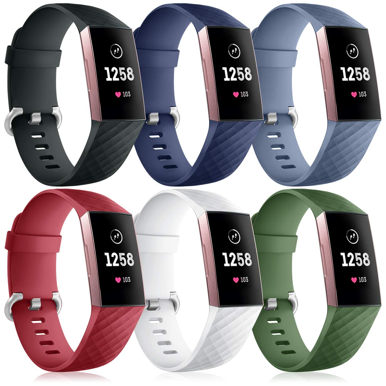 Nofeda 6 Pack Bands Compatible with Fitbit Charge 4 / Charge 3 / Charge 3 SE, Sports Waterproof Replacement Wristbands Straps Accessories for Women Men Large
