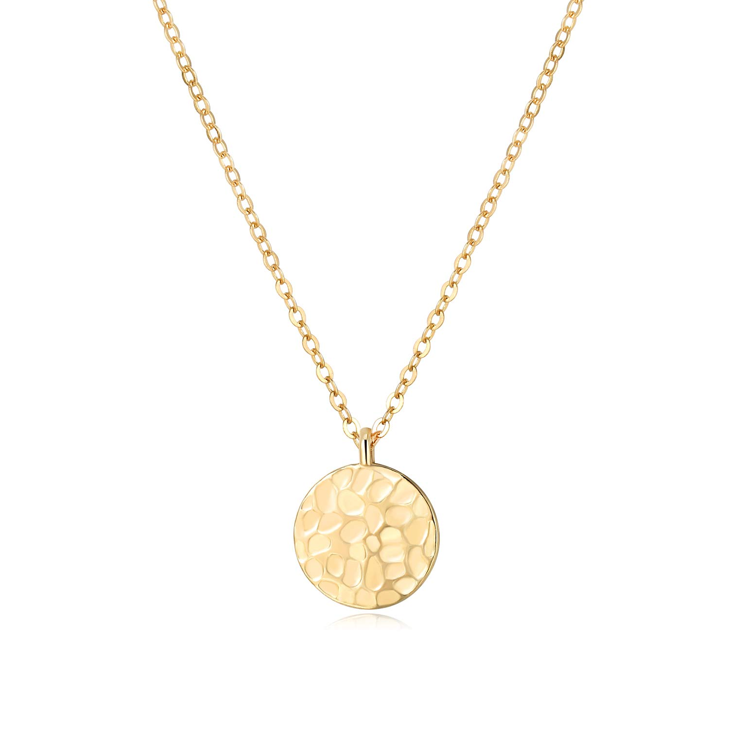 SEUSUK Moon Necklace Gold Pendant Dainty 14K Gold Fill Coin Disc Full Harvest Half Waning Waxing New Karma Circle Crescent Moon Phase Cute Delicate Handmade Hammered Simple Jewelry for Women Gift