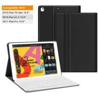 JUQITECH Keyboard Case for iPad 10.2, iPad Air 3 10.5 iPad Pro 10.5, Smart Case with Keyboard for iPad 7th Gen iPad 10.5 Bluetooth Magnetic Keyboard Auto Sleep/Wake Slim Folio Tablet Case Cover, Black