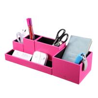 Vlando VPACK Office Desk Organizer - Leatherette 5-Compartment Desktop Stationery Storage Box Pen Holder (Fuchsia Pink)