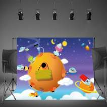 Cartoon Planets Backdrop 10x7ft Starry Outer Space Galaxy Photography Background Astronaut Portrait Birthday Party Baby Shower Backdrop Photo Shoot Props EAGE118