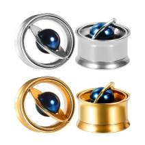 "TBOSEN 2Pcs/Pairs Planet Stainless Steel Ear Gauges 0g - 5/8"" Stretching Expander Gauges Piercing Screw Fit Tunnel Plug"