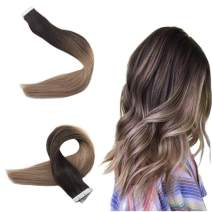 Easyouth 18inches Balayage Tape in Hair Real Human Hair Color 2 Darkest Brown Fading to 6 Middle Brown Highlights with 18 Ash Blonde 40g 20pcs Straight Hair Extensions Double Sided Glue in for Girls