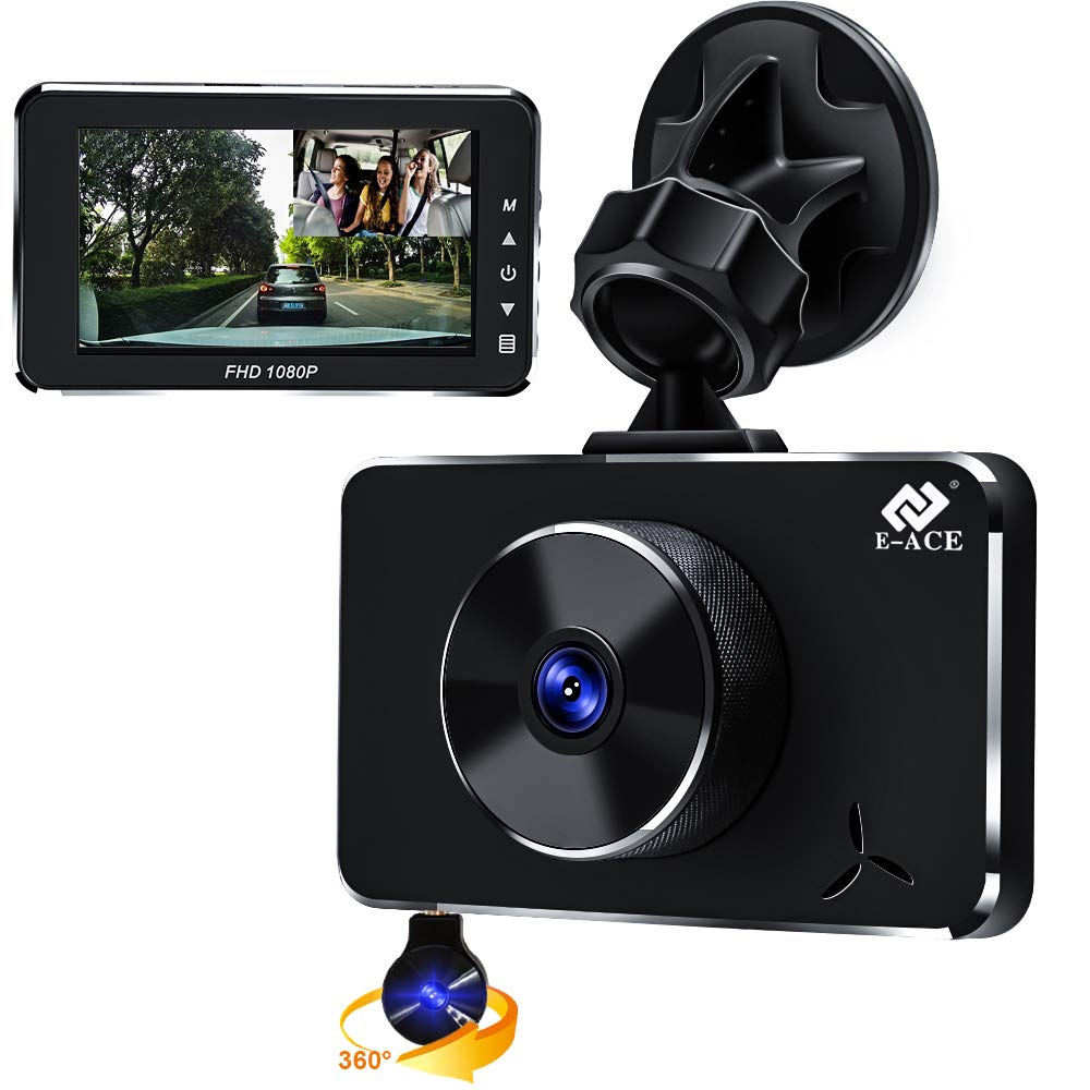 E-ACE Dual Dash Cam for Cars 1080P Front and Cabin Inside Cameras 3 Inch LCD Screen 170° Wide Angle Dashboard Camera Recorder with G-Sensor and Loop Recording