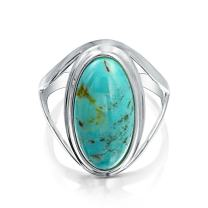 Native American Style Large Oval Boho Statement Stabilized Turquoise Ring For Women Split Band 925 Sterling Silver