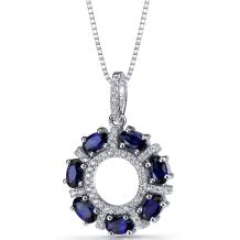 Created Blue Sapphire Dahlia Pendant Necklace Sterling Silver 1.75 Carats