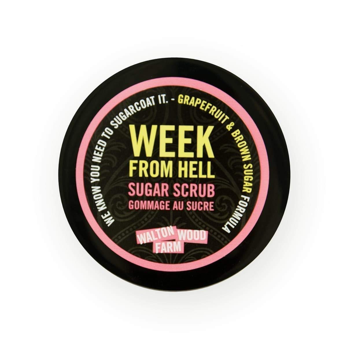 Walton Wood Farm Sugar Scrub (Week From Hell) Grapefruit and Brown Sugar Scent Vegan-Friendly and Paraben-Free 8 oz