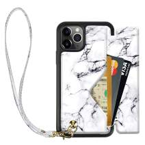 iPhone 11 Pro Max Wallet Case, iPhone 11 Pro Max Case with Wrist Strap, ZVEdeng iPhone 11 Pro Max Case with Card Holder Lanyard, iPhone 11 Pro Max Marble Case Leather Flip Case Handbag-White Marble