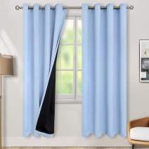 BGment Thermal Insulated 100% Blackout Curtains for Bedroom with Black Liner, Double Layer Full Room Darkening Noise Reducing Grommet Curtain (52W x 84L, Spa Blue)