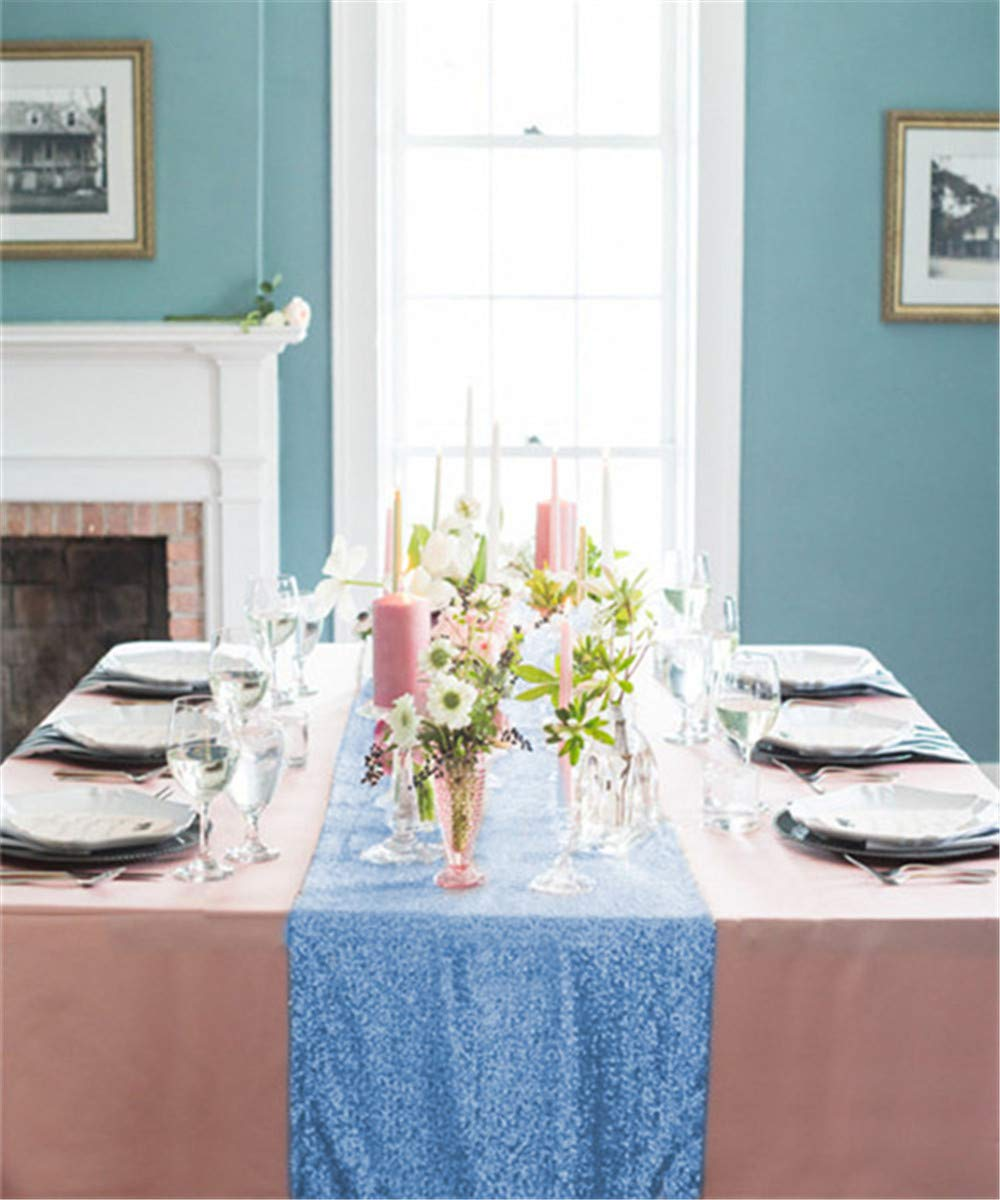 B-COOL Sequin Tablecloth Baby Blue Rectangle Overlay for Wedding Party Birthday Christmas 12x72inches