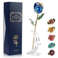 Ejoyous 24K Gold Rose Blue Fresh Rose Dipped in 24 Karat Gold with Rose Stand, Natural Shape Rose Flower for Women Mom on Birthday Wedding Anniversary Graduation Thankfulness, Blue