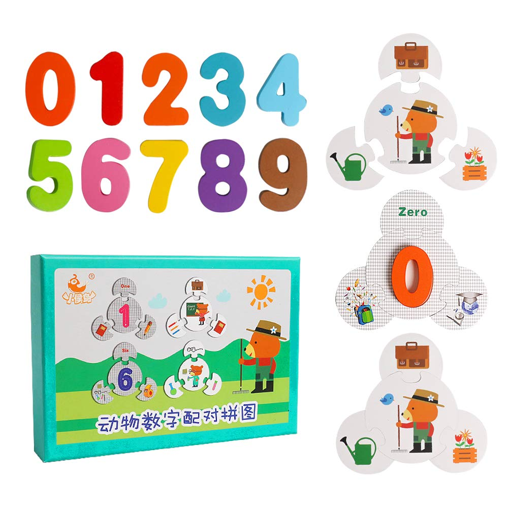 JCREN Number Matching Puzzles Flash Cards Wooden Jigsaw Puzzle Peg Board Set Preschool Educational Montessori Toys for Toddlers Kids Boys Girls 2 3 4 5 Years Old