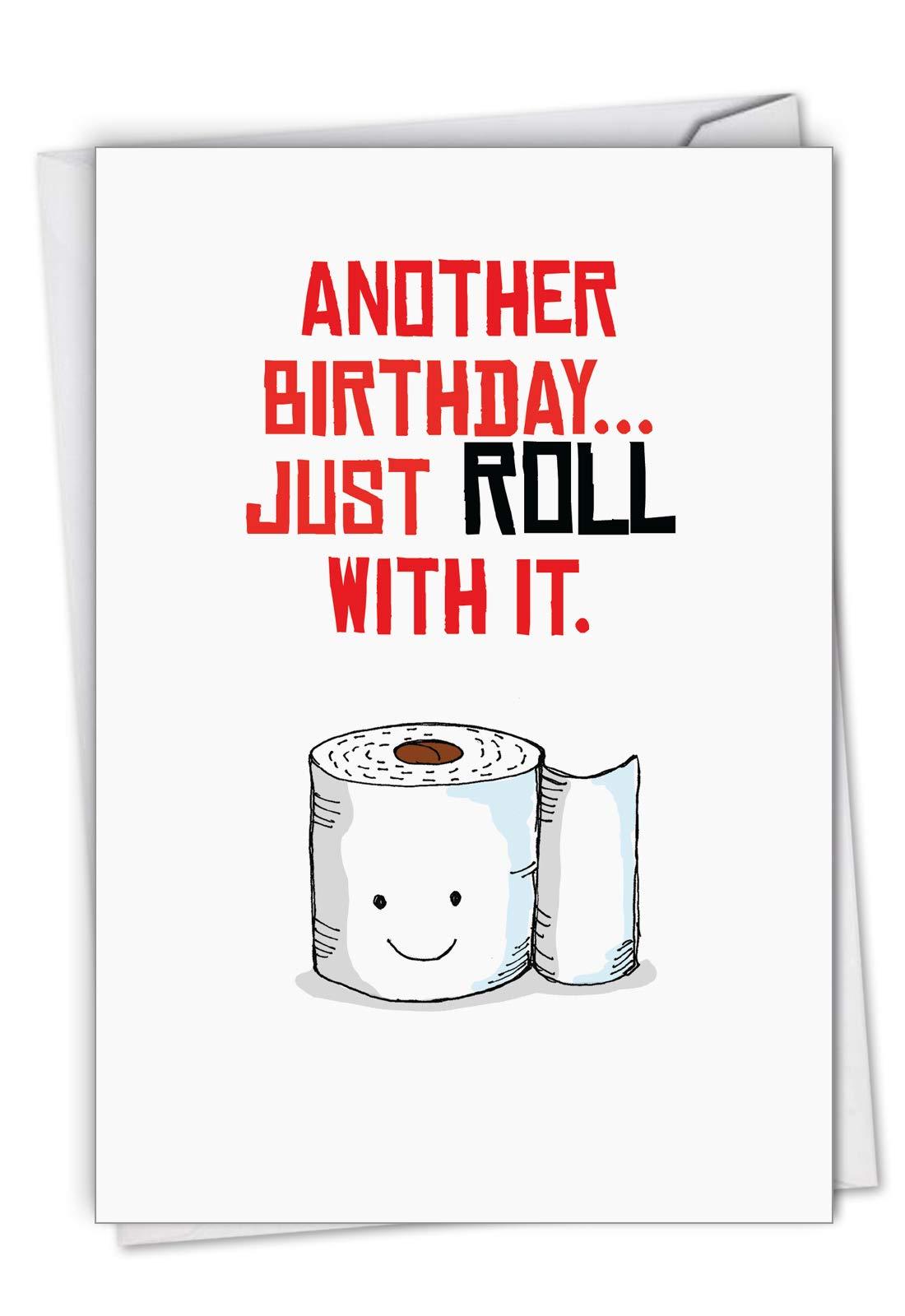 Birthday Puns Roll - Toilet Pun Happy Birthday Card with Envelope (4.63 x 6.75 Inch) - Funny Toilet Paper Joke, Congrats Bday Card for Women, Men - Illustrated Bathroom Humor Gift C6119CBDG
