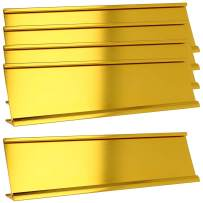 "2"" x 8"" Aluminum Name Plate Holder for Desk - Set of 5 - Office Business Door Sign Holder - Gold"