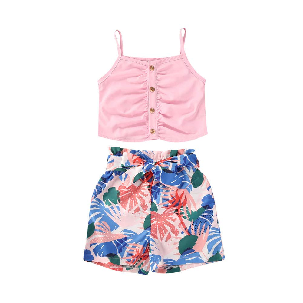 Toddler Baby Girl Ruffle Straps Crop Tops Shirt High Waist Floral Shorts Kids Summer Outfit Clothes Set