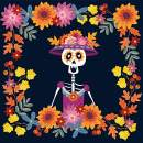 Baocicco 6.5x6.5ft Day of The Dead Backdrop Cartoon Skeleton with Flower Decorations Mexican Fiesta Photography Background Dia DE Los Muertos Supplies All Soul's Day Halloween Birthday Party Decor