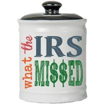 Tumbleweed Cottage Creek Tax Gifts Round Ceramic What The IRS Missed Jar/Accountant Financial Planner Gifts Tax Piggy Banks [White]