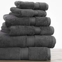 100% Long Staple Cotton Towel Set - 900 GSM Heavy Weight Super Absorbent Towels - 6 PC Set Includes 2 Bath Towels, 2 Face Towels & 2 Wash Cloths - 7 Colors Available - Charcoal