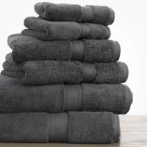 100% Long Staple Cotton Towel Set - 900 GSM Heavy Weight Super Absorbent Towels - 6 PC Set Includes 2 Bath Towels, 2 Face Towels & 2 Wash Cloths - 7 Colors Available - Charcoal