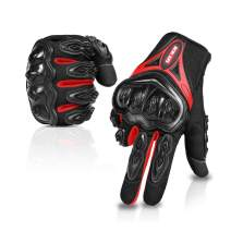 Motorcycle gloves Full finger durable for road racing bike summer spring Powersports support touch screen red-M