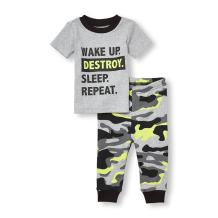 The Children's Place Baby Girls' Short Sleeve 2-Piece Pajama Set