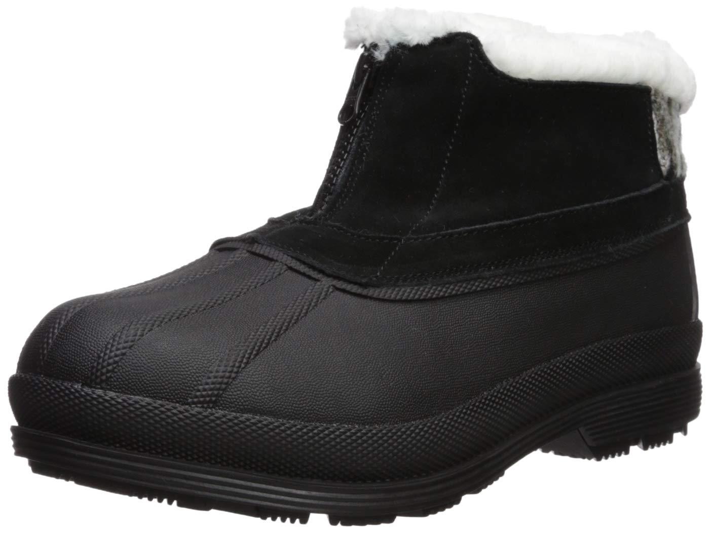 Propet Women's Lumi Ankle Zip Snow Boot, Black/White, 10 4E US