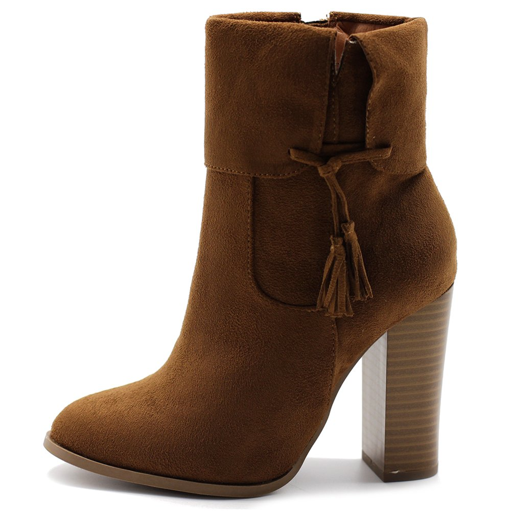 Ollio Women's Shoe Faux Suede Back Zip Up Stacked High Heel Tassel Ankle Boots