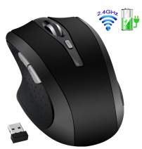 2.4G Wireless Rechargeable Mouse - Tsmine Noiseless Mouse with Nano Receiver(Stored Within The Back of The Mouse),3 DPI Levels,6 Buttons for Notebook,PC,Laptop,MacBook,Android OS Tablet, Black