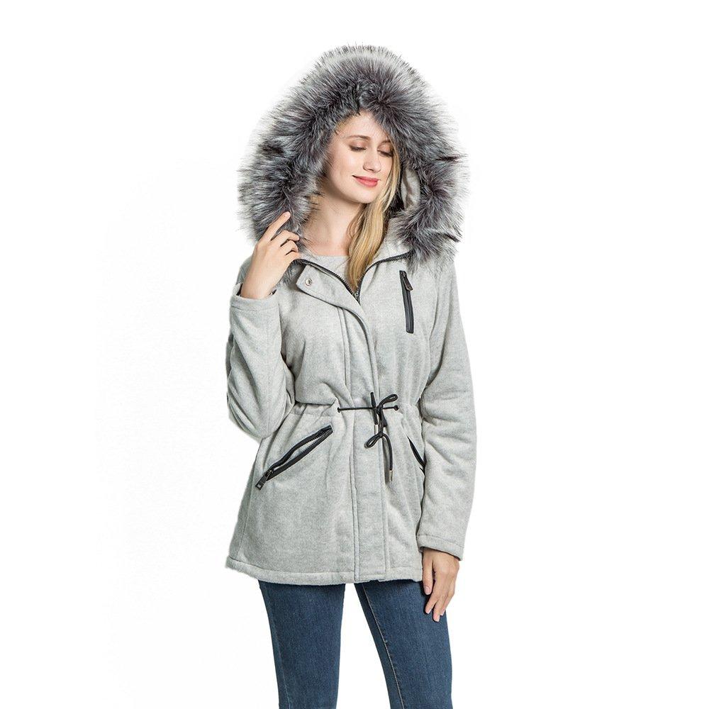 KENGURU COVE Women's Wool Trench Coat Lapel Wrap Swing Winter with Removable Fur Collar Long Overcoat Jacket