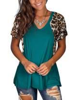 deqiang Women's Tops Short Sleeve Leopard Print Tunic V Neck Summer T Shirt