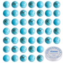 Abesee 100PCS 8mm Natural Loose Gemstone Blue Turquoise Round Beads Jewelry Making Supplies, AAA Grade Semi Precious Stone Handmade Craft with Crystal Stretch Roll Crystal Stretch Cord